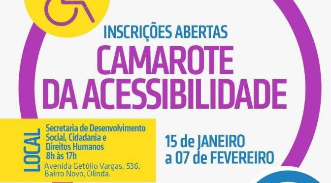 Começam hoje em Olinda as inscrições do Camarote da Acessibilidade.